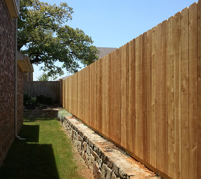 New Wood Fence Construction